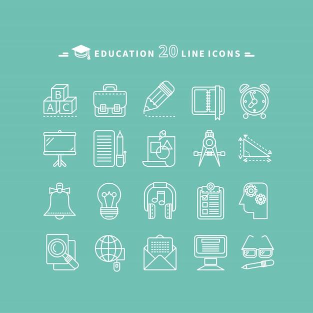 Conjunto de ícones de educação de contorno Vetor Premium