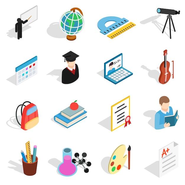 Conjunto de ícones de educação isométrica. ícones de educação universal para usar para web e interface do usuário móvel, conjunto de elementos isolados de educação básica vector illustration Vetor Premium