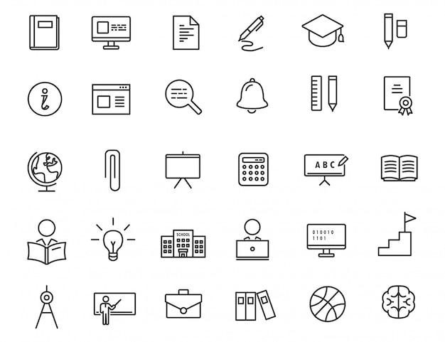 Conjunto de ícones de educação linear. Vetor Premium