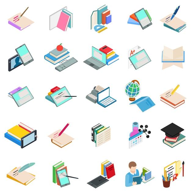Conjunto de ícones de educação moderna Vetor Premium
