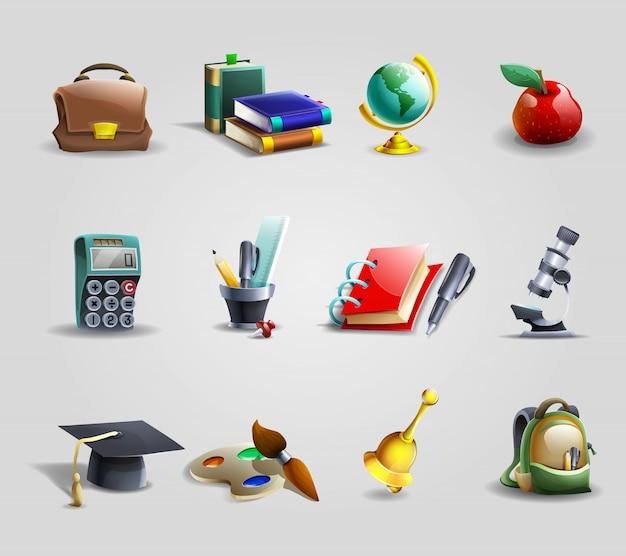 Conjunto de ícones de educação Vetor grátis