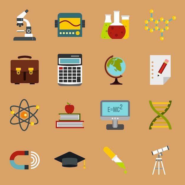 Conjunto de ícones de educação Vetor Premium