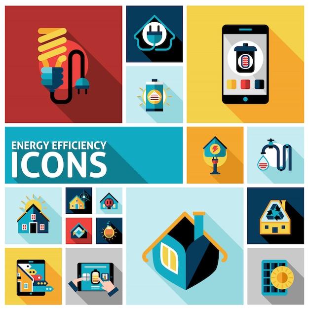 Conjunto de ícones de eficiência de energia Vetor grátis