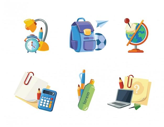 Conjunto de ícones de elementos da escola Vetor Premium