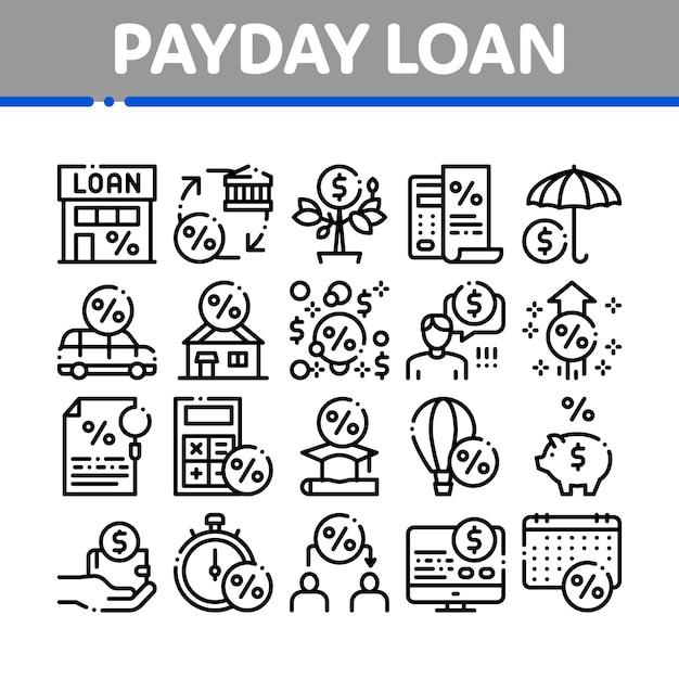 Conjunto de ícones de elementos de coleção de empréstimo do dia de pagamento Vetor Premium