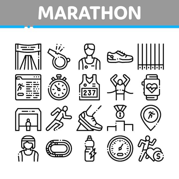 Conjunto de ícones de elementos de coleção de maratona Vetor Premium