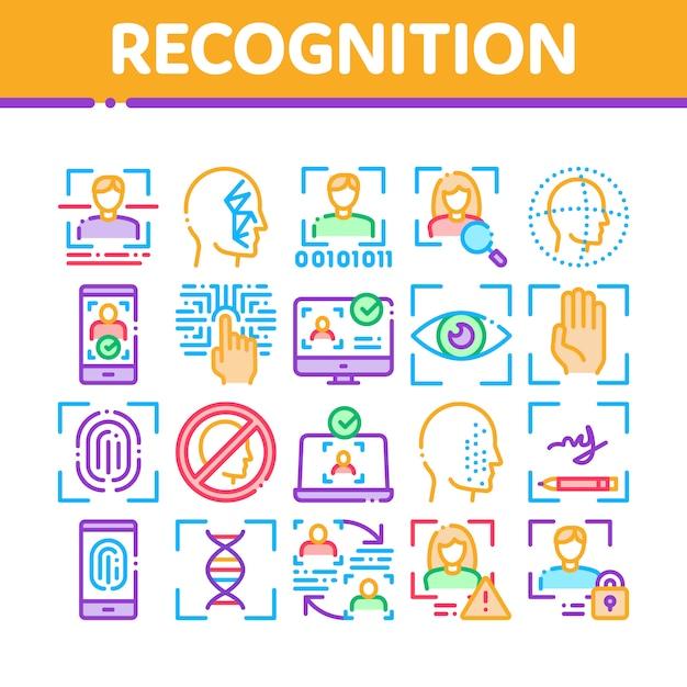 Conjunto de ícones de elementos de coleção de reconhecimento Vetor Premium