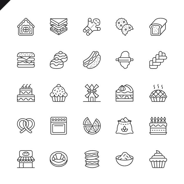 Conjunto de ícones de elementos de loja de padaria de linha fina Vetor Premium
