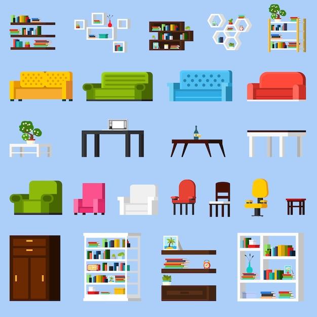Conjunto de ícones de elementos interiores Vetor grátis