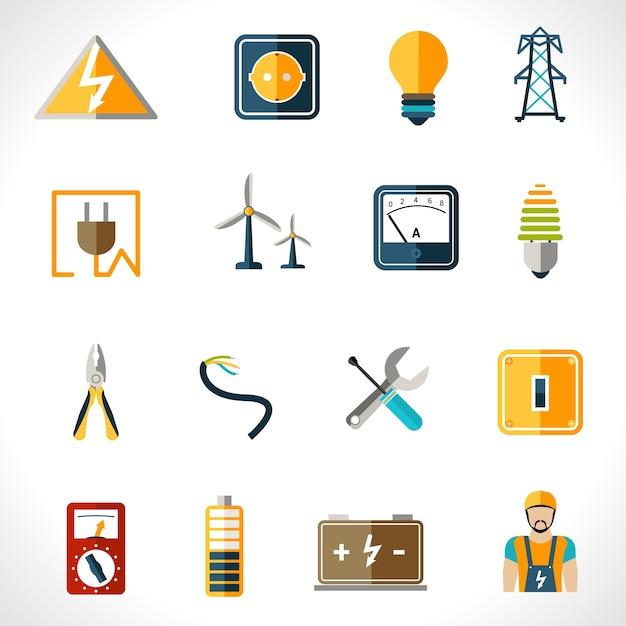 Conjunto de ícones de eletricidade Vetor grátis