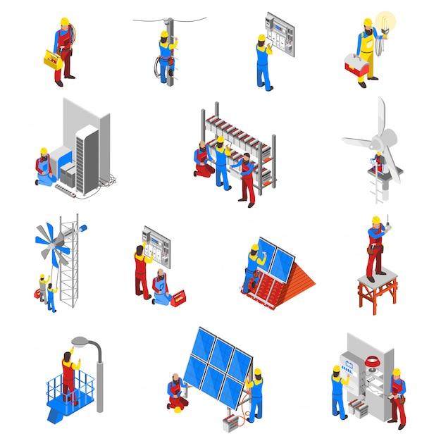 Conjunto de ícones de eletricista Vetor grátis