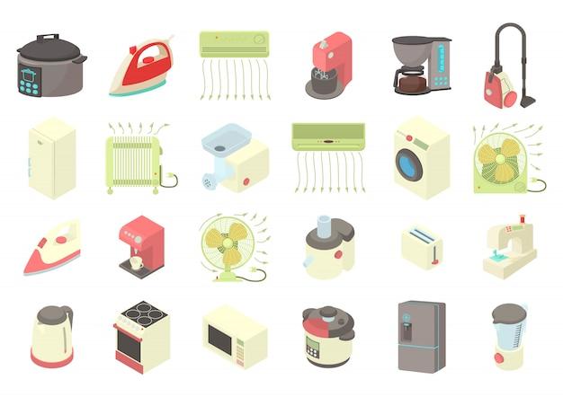 Conjunto de ícones de eletrodomésticos Vetor Premium