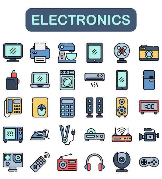 Conjunto de ícones de eletrônica, estilo lineal color Vetor Premium