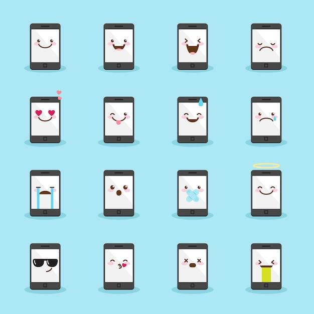Conjunto de ícones de emoji de smartphone Vetor Premium