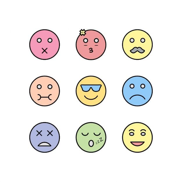 Conjunto de ícones de emoji isolado no fundo branco Vetor Premium