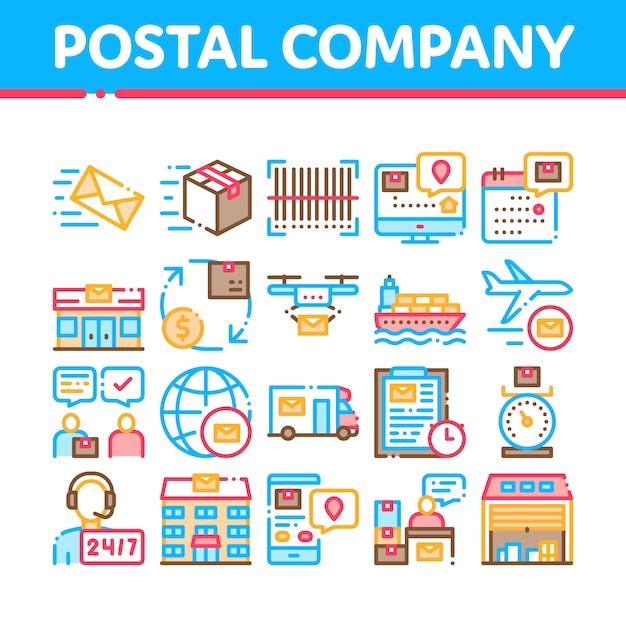 Conjunto de ícones de empresa de transporte postal Vetor Premium