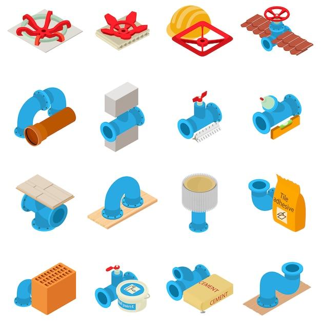 Conjunto de ícones de encanamento, estilo isométrico Vetor Premium
