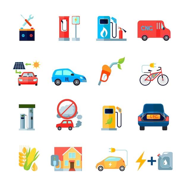 Conjunto de ícones de energia alternativa Vetor grátis