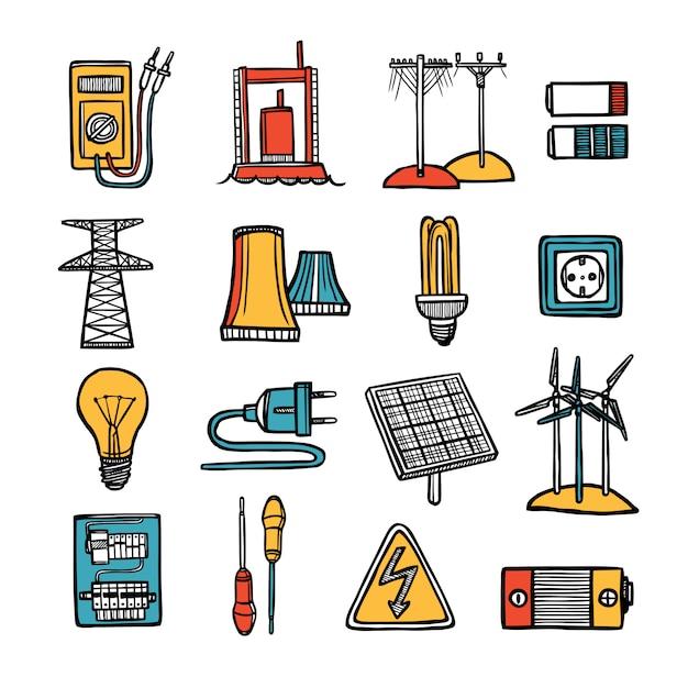 Conjunto de ícones de energia e energia Vetor grátis