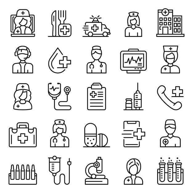 Conjunto de ícones de enfermeira, estilo de estrutura de tópicos Vetor Premium