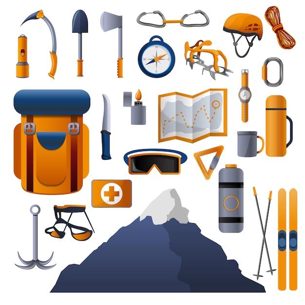 Conjunto de ícones de equipamento de escalada Vetor Premium
