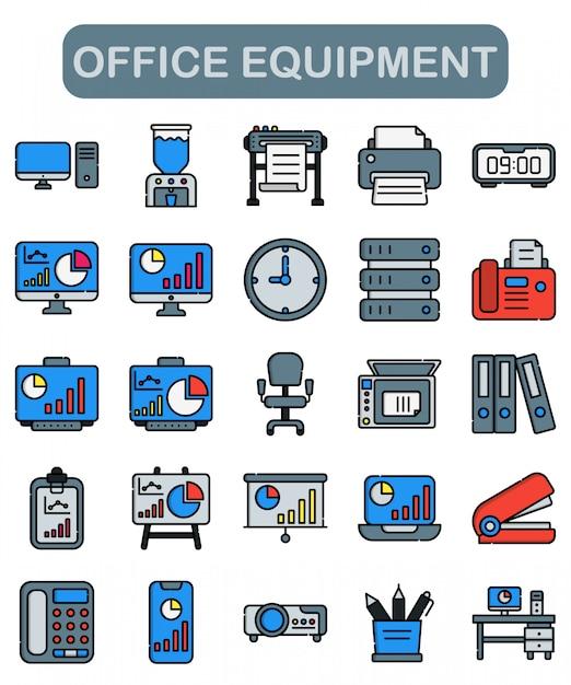 Conjunto de ícones de equipamento de escritório em estilo linear Vetor Premium