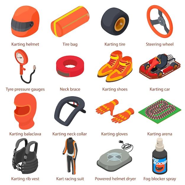 Conjunto de ícones de equipamento de karting. ilustração isométrica de 16 ícones de vetor de equipamentos de karting para web Vetor Premium