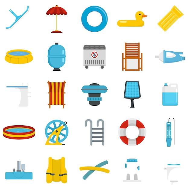 Conjunto de ícones de equipamento de piscina Vetor Premium