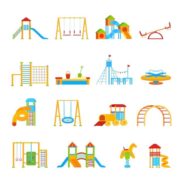 Conjunto de ícones de equipamento de recreio Vetor grátis