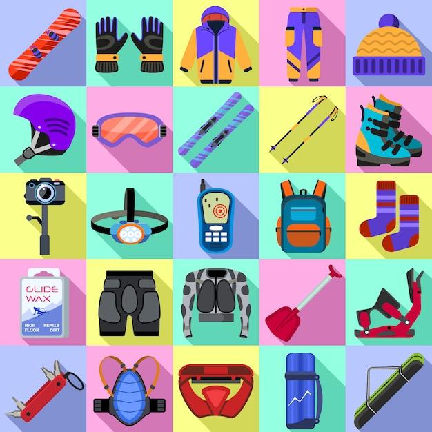 Conjunto de ícones de equipamento de snowboard. conjunto plano de vetor de equipamento de snowboard Vetor Premium