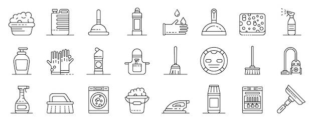 Conjunto de ícones de equipamento mais limpo, estilo de estrutura de tópicos Vetor Premium