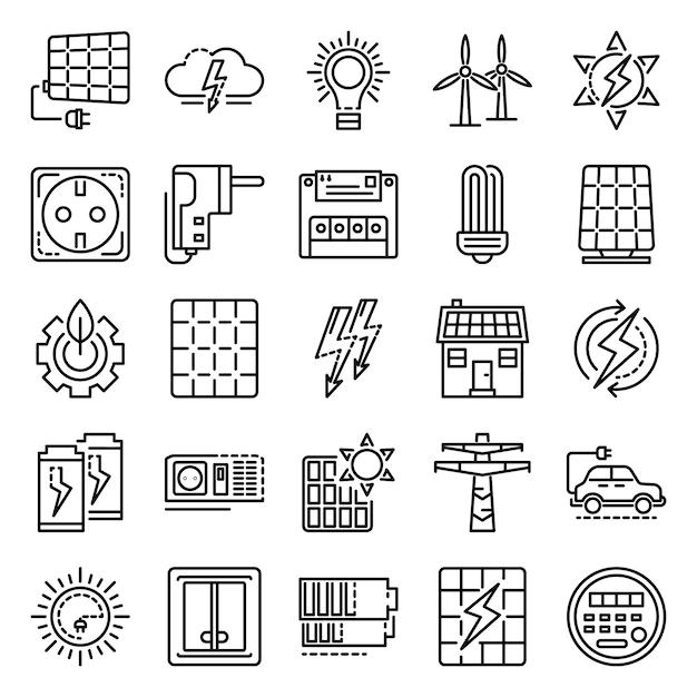 Conjunto de ícones de equipamentos de energia. outline set of energy equipment ícones do vetor Vetor Premium