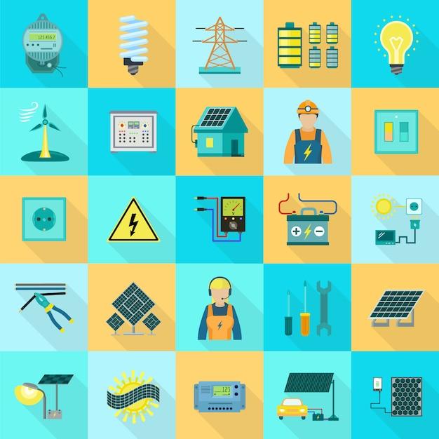 Conjunto de ícones de equipamentos de energia Vetor Premium