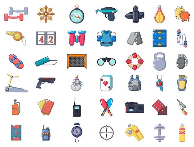 Conjunto de ícones de equipamentos de esporte. conjunto de desenhos animados de ícones de vetor de equipamentos de esporte conjunto isolado Vetor Premium