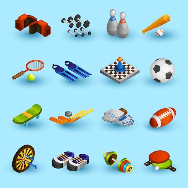 Conjunto de ícones de equipamentos de esporte Vetor grátis