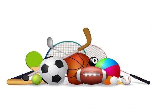 Conjunto de ícones de equipamentos de esporte. Vetor Premium