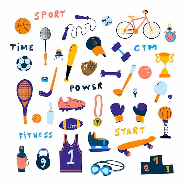 Conjunto de ícones de equipamentos esportivos Vetor Premium
