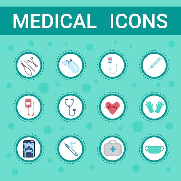 Conjunto de ícones de equipamentos médicos serviço de botão de consultas on-line Vetor Premium