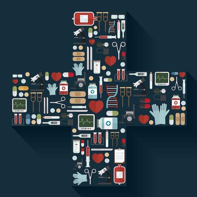 Conjunto de ícones de equipamentos médicos vector Vetor Premium