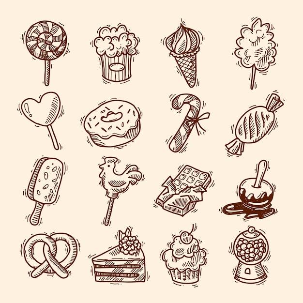 Conjunto de ícones de esboço de doces Vetor Premium