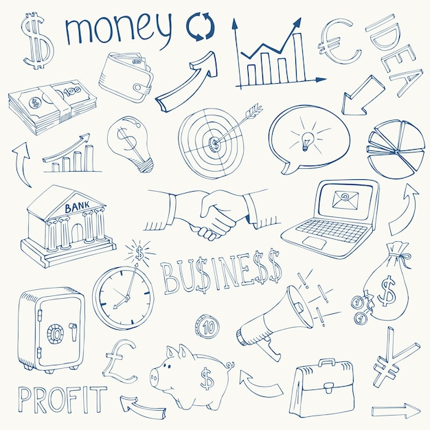 Conjunto de ícones de esboço de doodle de infográfico de negócios e dinheiro em preto e branco que descreve o investimento Vetor grátis