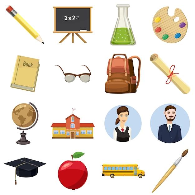 Conjunto de ícones de escola em estilo cartoon, isolado no fundo branco Vetor Premium