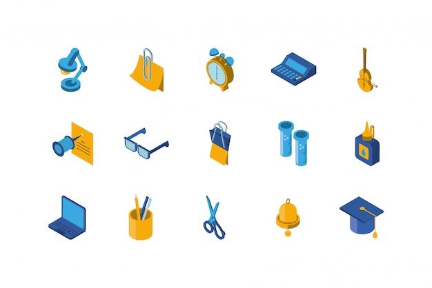 Conjunto de ícones de escola isolada vector design Vetor Premium