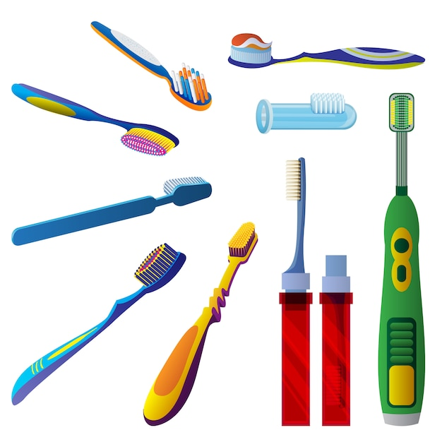 Conjunto de ícones de escova de dentes Vetor Premium