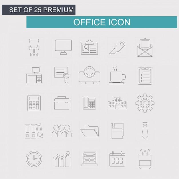 Conjunto de ícones de escritório Vetor grátis