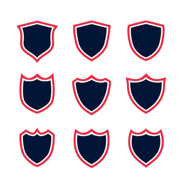 Conjunto de ícones de escudo com contorno vermelho Vetor grátis