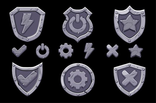 Conjunto de ícones de escudos de menu de pedra para o jogo. ícones isolados de opções, configurações e energia para a interface. Vetor Premium