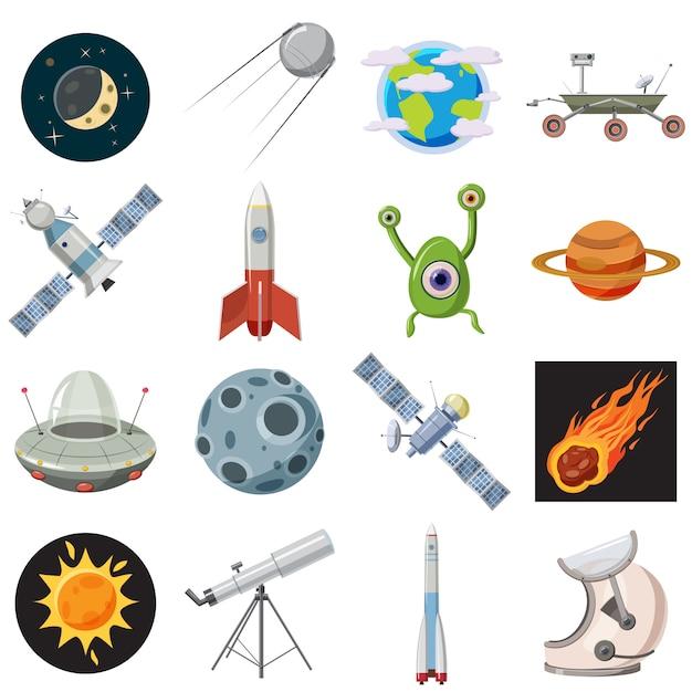 Conjunto de ícones de espaço, estilo cartoon Vetor Premium