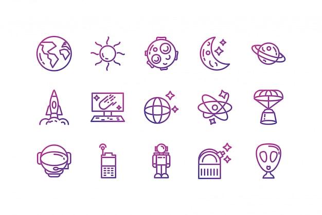 Conjunto de ícones de espaço isolado vector design Vetor Premium