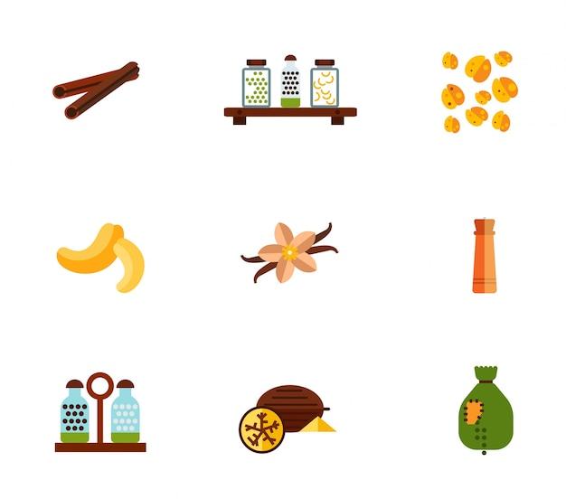Conjunto de ícones de especiarias Vetor grátis